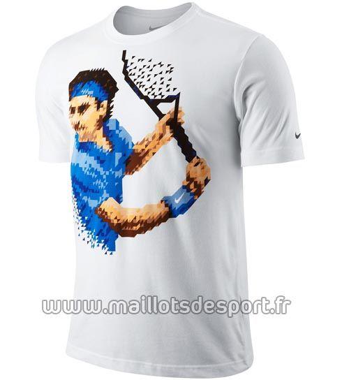 T-shirt blanc pixels Roger Federer pour Roland Garros 2012 par Nike