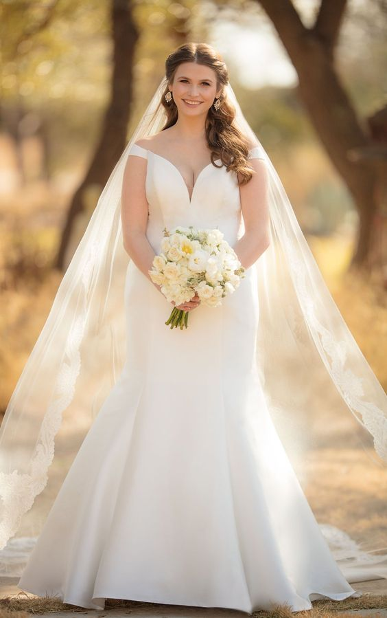 so glamorous and gorgeous plus sizes off-the-shoulder wedding gown