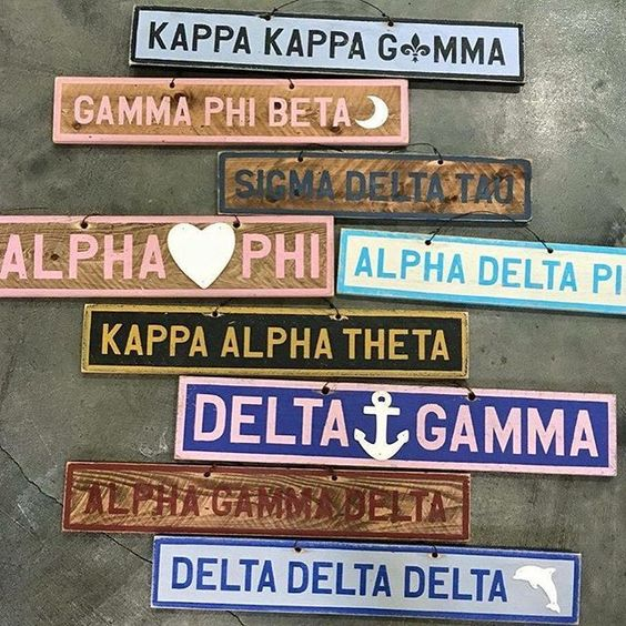 The cutest decor for your dorm room or your living room! Don't miss out on these awesome customized Greek vintage signs!