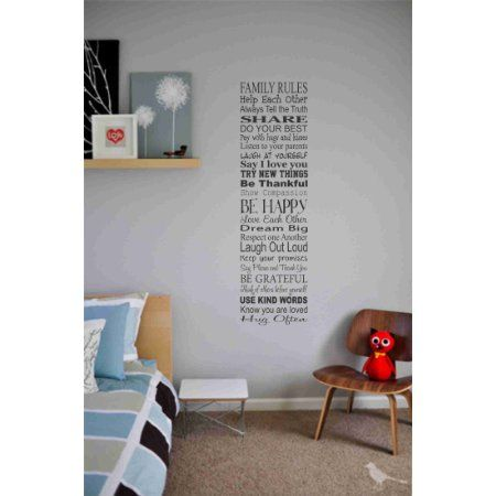 Amazon.com: Family rules help each other always tell the truth Vinyl wall art Inspirational quotes and saying home decor decal sticker: Home & Kitchen