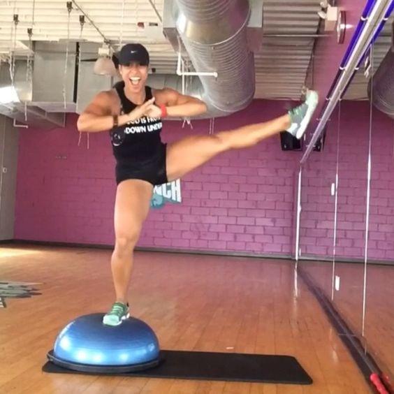 Stability Ball Leg Raises: Challenge! BOSU BALANCIN' Part III ••• Lateral Leg Raises