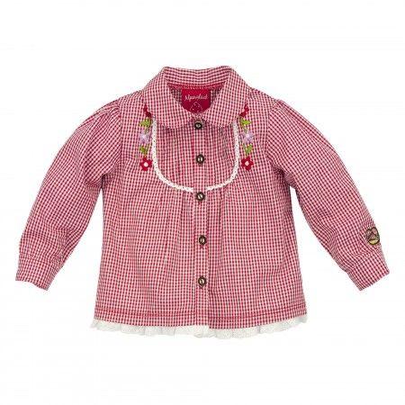 Trachtenhemd für Mädchen - Karoblüschen karo rot/weiss