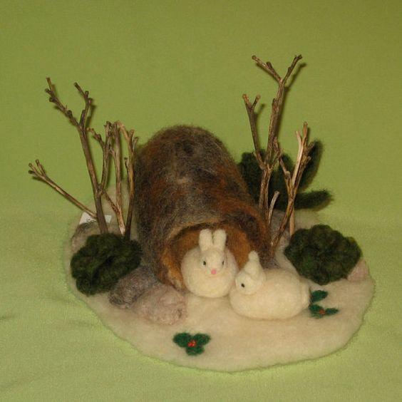 Snow Bunnies in a Logneedle felted scene by enchanteddolls on Etsy, $38.00
