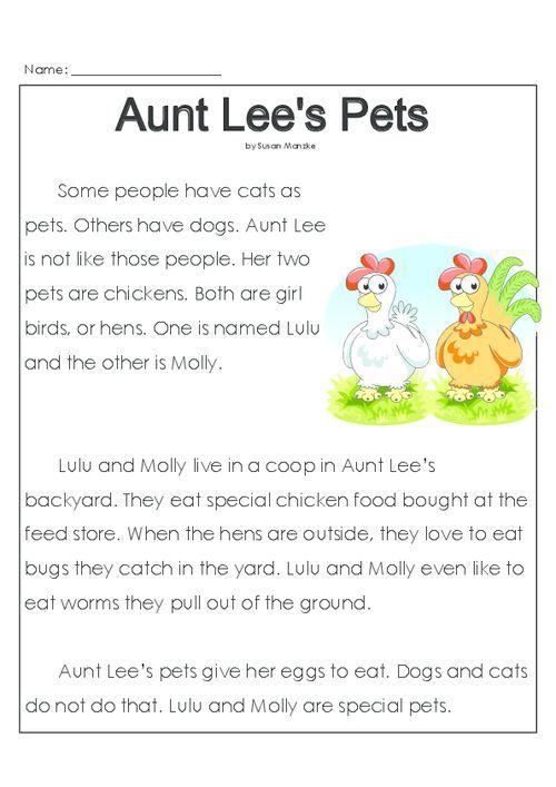 Aunt Lee\'s Pets   Reading comprehension activities, Comprehension ...