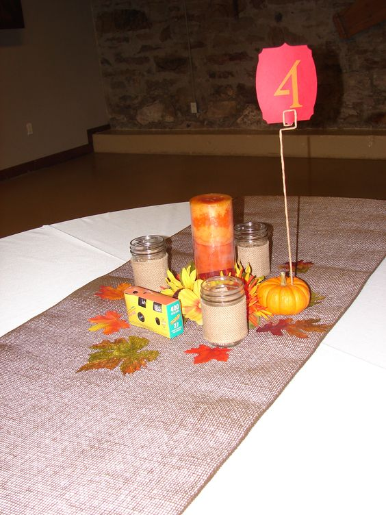 Table decor, with pumpkin table markers.
