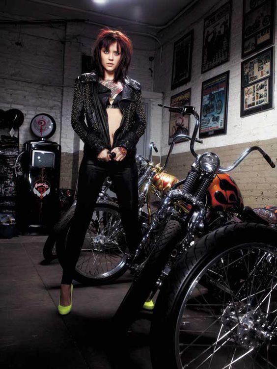 Tattooed biker girl photography motorcycle girls for Biker chick tattoos