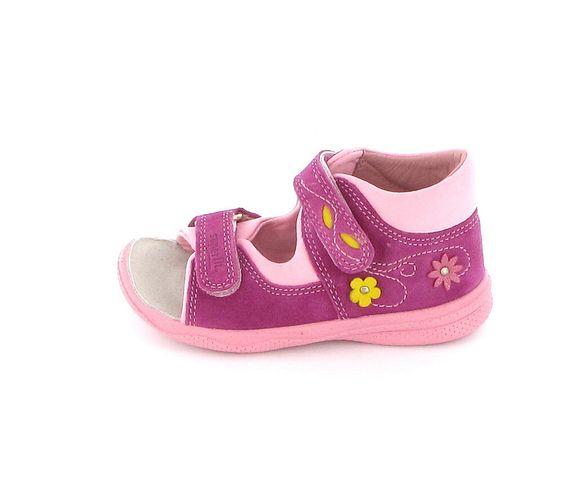 Superfit Lauflernsandale für Mädchen in Pink mit gelben Blumen