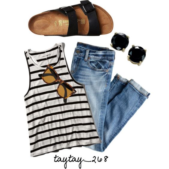 stripes and birks by taytay-268 on Polyvore featuring polyvore fashion style Abercrombie & Fitch J.Crew Birkenstock B. Brilliant Ray-Ban
