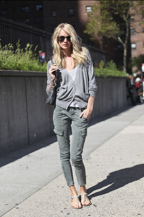 skinny cargos + gray cardigan + gray tee