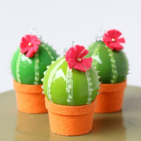 Cactus Decorated For Christmas: Mini Cactus, Cactus And Ornaments On Pinterest