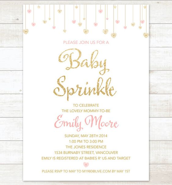 sprinkles, gold baby showers and chic on pinterest, Baby shower invitations