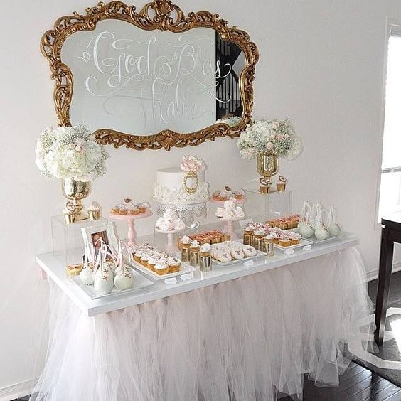 A french mirror creates a elegant finishing touch to this sweet table.  www.happilyeveraftereventsinc.ca