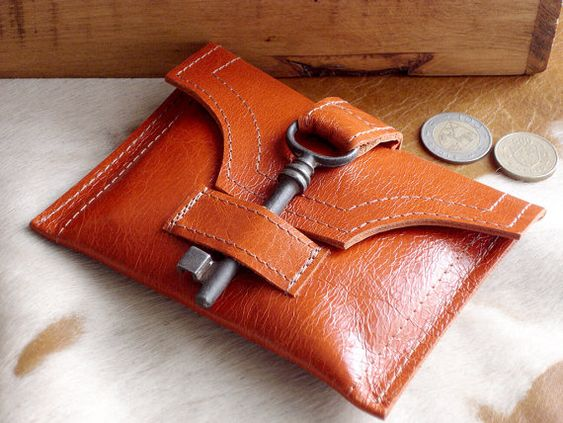 Blood Orange Leather Wallet with Antique Skeleton Key by urbanheirlooms Etsy ♥