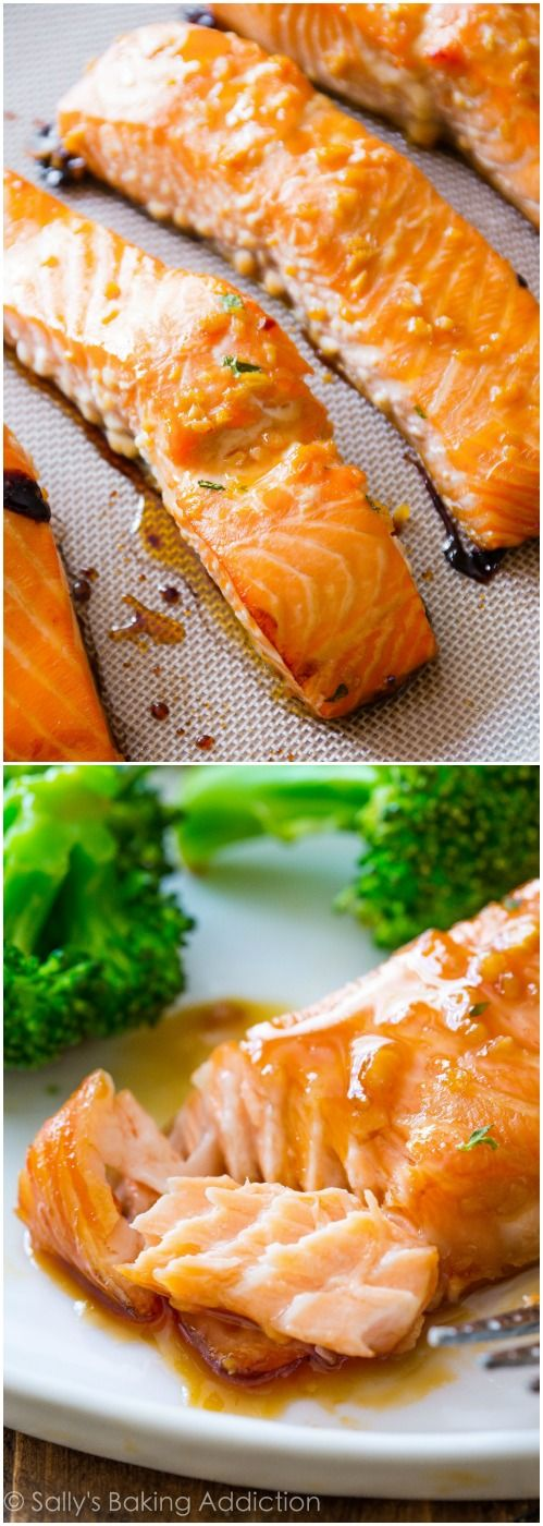 Simple glazed salmon with honey, garlic, and ginger glaze! 6 ...