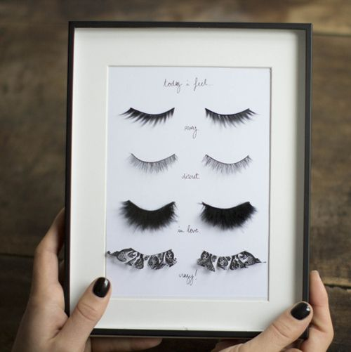 "DIY Fake Eyelashes Wall Art Tutorial from Make My Lemonade here. Her piece is labeled, ""Today I feel""...:"