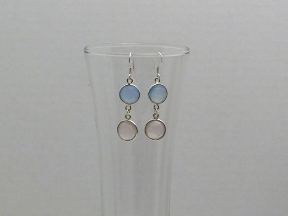 "Rose Quartz and Chalcedony Bezel Link Dangle Earrings  25% Off use coupon ""heart25"". $24.00, via Etsy."