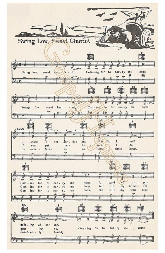 Roots Music Swing Low Sweet Chariot Spiritual Sheet by GospelHymns