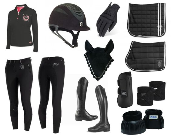 If you are looking for stylish black tack, look no further! This black tack collection includes saddle pad, bell boots, polo wraps, jumping boots, fly bonnet, riding boots, breeches, shirt, gloves and helmet. Use code FALLSHIP to receive FREE SHIPPING on orders over $99.