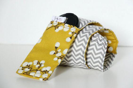 DSLR Camera Strap Cover Gray Chevron Mustard Yellow by JoyMadeIt