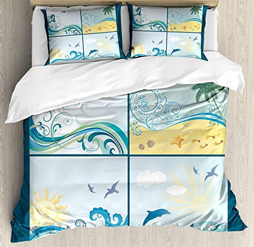 Monroda Bedding Printed Duvet Cover Set Beach 4 Piece King Size Maritime Themed Frames With W Duvet Cover Sets Patterned Bedding Sets Queen Size Duvet Covers