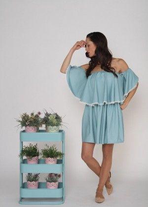 Vestido de mujer María corto azul y verde