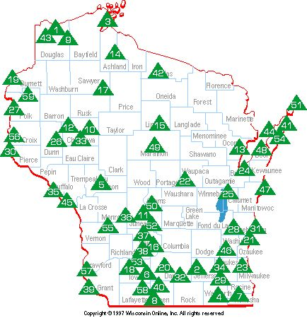 Wisconsin State Park Map Camp Pinterest Wisconsin Travel - Wi state map