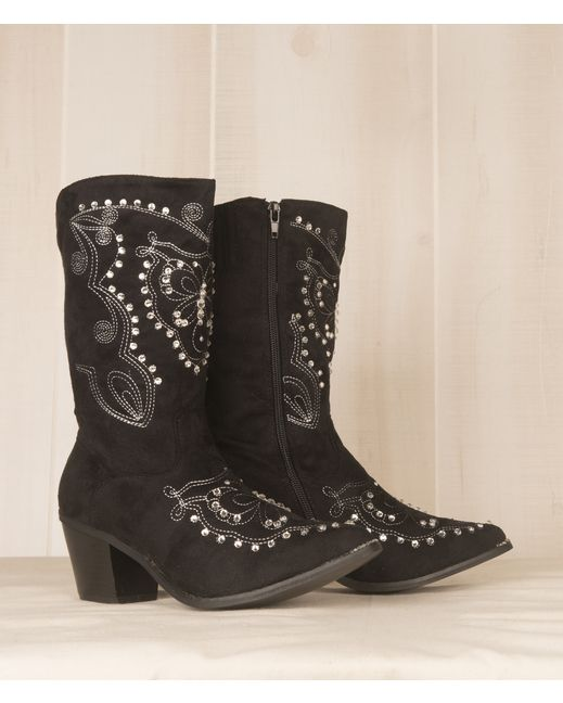 Black Crooked Fence Fancy Crystal Boot - Hijole!