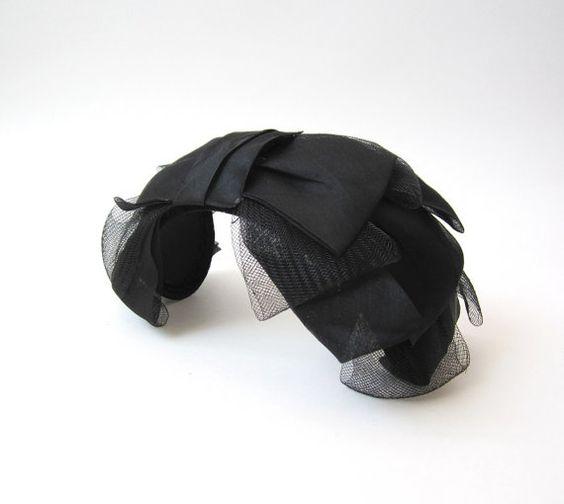 Vintage 1950s Black Bow Tie Headband Hat by OiseauVintage on Etsy
