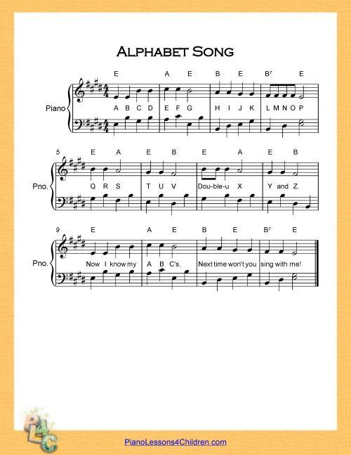 Alphabet Song Abc Song Lyrics Videos Free Sheet Music For