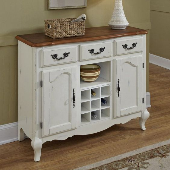 Home Styles The French Countryside Oak and Rubbed White Dining Buffet - 5518-61