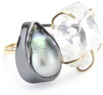 "Melissa Joy Manning ""Not Your Mother's Pearls"" Herkimer and Pearl Ring"