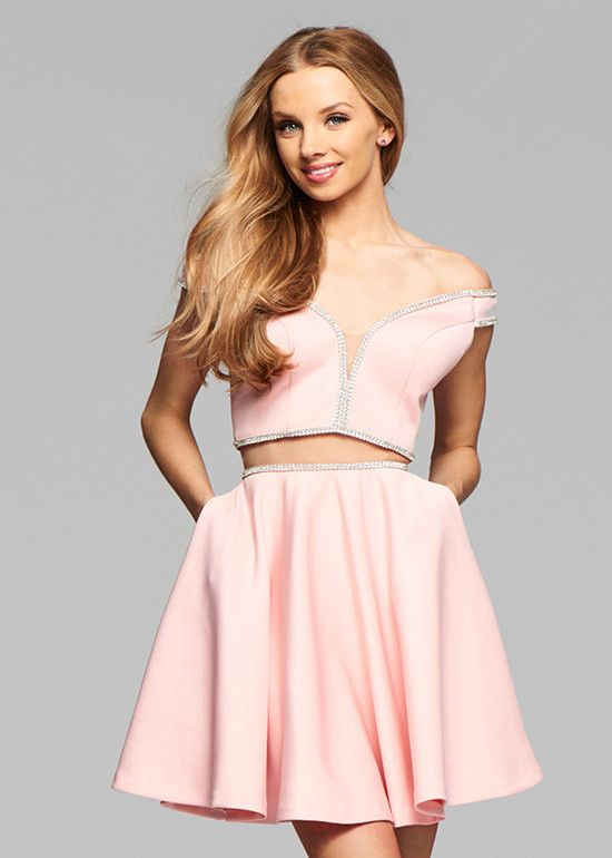 Off the Shoulder 2 Piece Short Satin Homecoming Dress with Beading ...