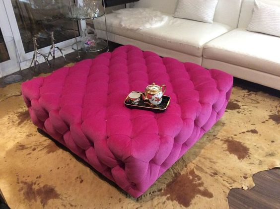 Ottoman Day Bed Coffee Table Bench Large Tufted