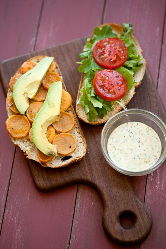 Sweet potato and avocado sandwiches.