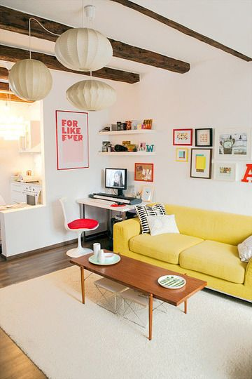 sun!: Interior Design, Coffee Tables, Living Rooms, Exposed Beams, Livingroom, White Walls, Yellow Sofa, Yellow Couch