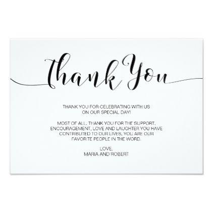 Minimalist Calligraphy Wedding Thank You Card Zazzle Com Thank You Card Wording Wedding Thank You Cards Wording Wedding Thank You Cards