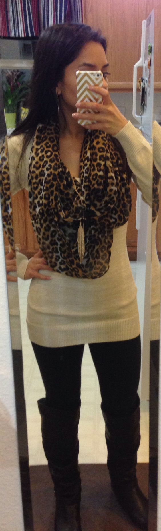 High boots, leopard, gold and cream fitted sweater