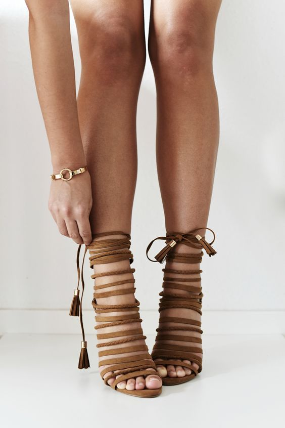 Brown strappy heeled sandals - a statement choice for any time of ...