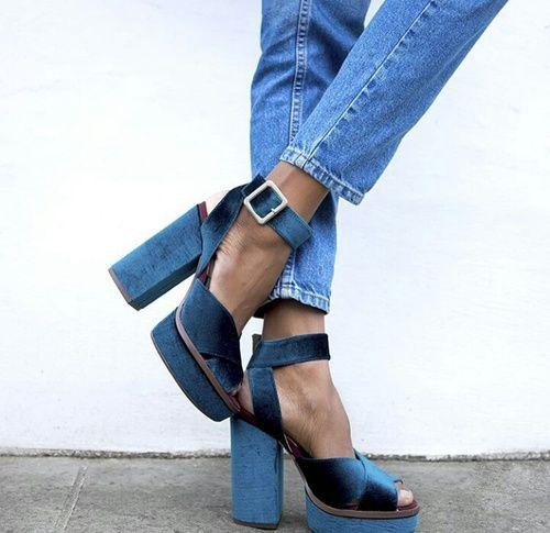 Chunky blue velvet shoes heels