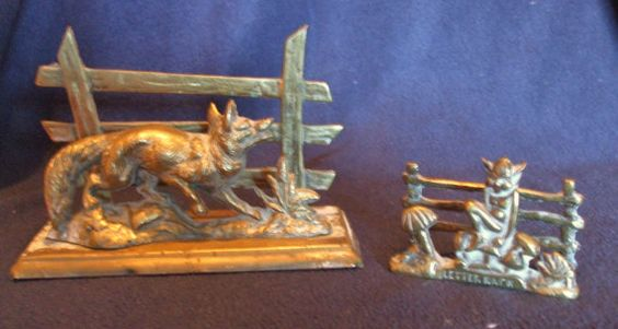 Two Vintage Cast Brass Letter Racks Uncleaned, Fox at Fence & Pixie or Leprechaun on Toadstool £7.95