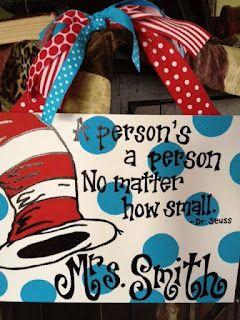 Love their school's theme!  11x14 or 12x12 teacher signs $25
