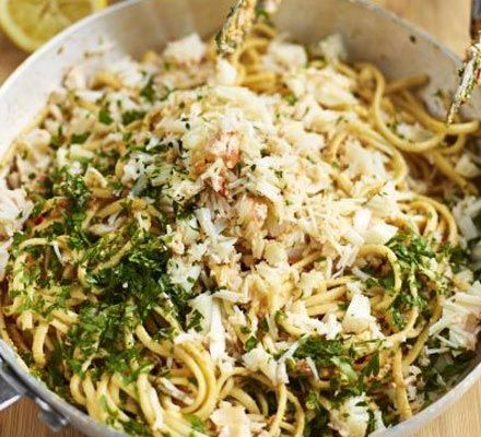 Crab linguine with chilli and parsley -- so easy; soooo good.  Can use tinned crab for a divine store cupboard supper.