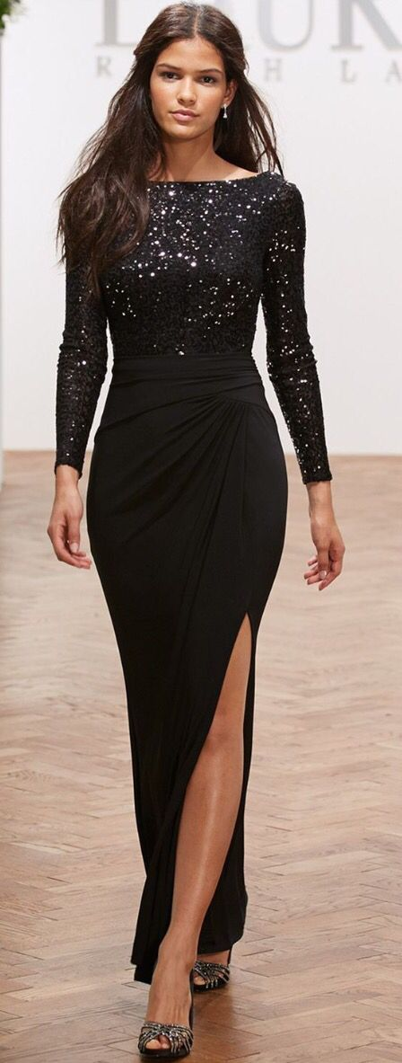 Lauren Ralph Lauren Long-Sleeve Sequin Gown - Dresses - Women - Macy\u0026#39;s