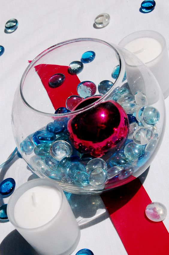 Centerpiece Glass Stones : Wedding decor fish bowl with colorful glass stones