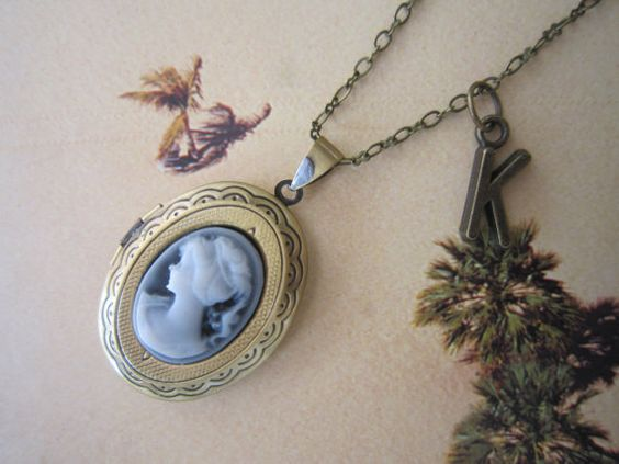 Bronze Oval Cameo Locket Necklace Initial Locket by PrettyDIY, $13.00