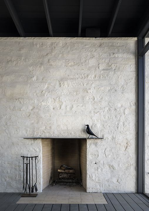 Outdoor Fireplaces | Contemporary rustic white stucco