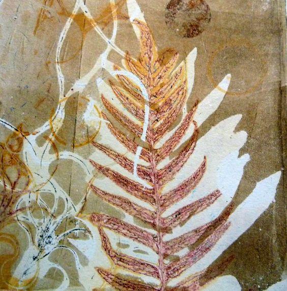 Sandra Pearce - a layered botanical gelli print - lovely rusty colours!