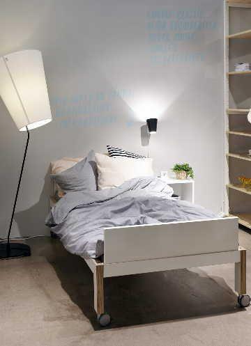 Sisustus - makuuhuone - sänkyrungon renkailla   muunneltavuutta   VALAISINPARI:vastakohdat