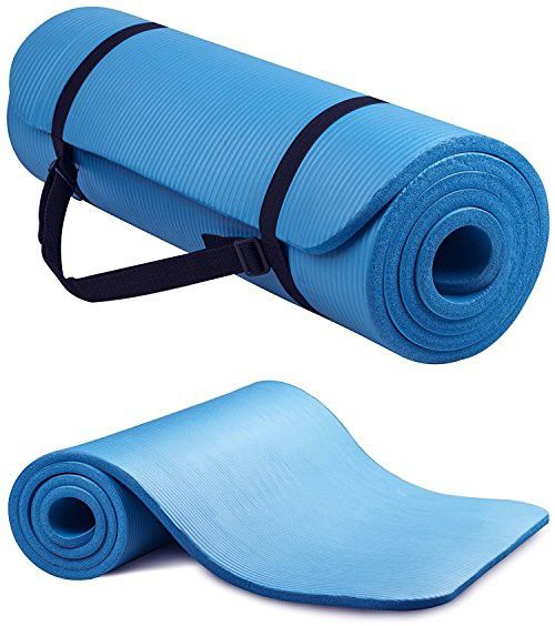 Yoga Mat 1 2 Inch Extra Thick High Density Anti Tear All Purpose Yoga Mat Exercise With Carrying Strap Blue Yoga Mat Mat Exercises Yoga Mat Bag