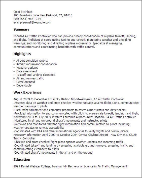 Pinterest  Air Traffic Controller Resume